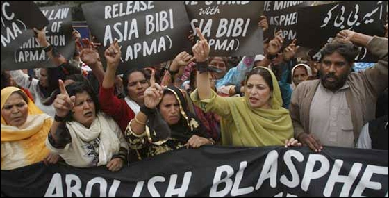Protesters hold up placards while demanding the release of Asia Bibi, a Pakistani Christian woman who has been sentenced to death for blasphemy, at a rally in Lahore November 21, 2010. - Reuters