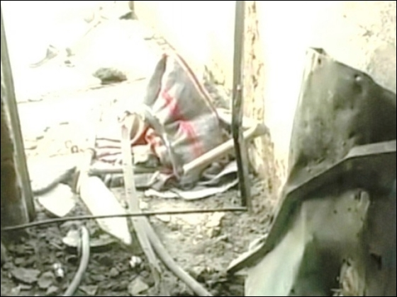 Screen capture of damage caused to the Ahmadi place of worship in Mardan.