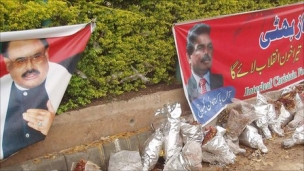 The scene of Shahbaz Bhatti's murder is festooned with banners and flowers commemorating his life