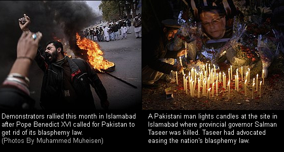 Demonstrators rallied this month in Islamabad after Pope Benedict XVI called for Pakistan to get rid of its blasphemy law. (Photos By Muhammed Muheisen)