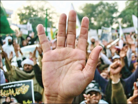 In yet another rally TNRM leaders said they will respect no law if blasphemy laws are touched. PHOTOS: EXPRESS/ABID NAWAZ