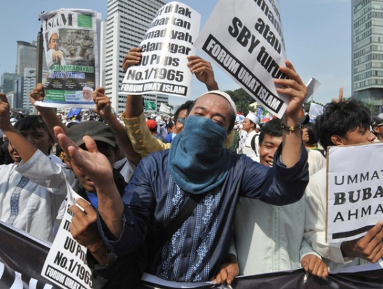 In this photo taken on February 18, 201, protesters shout slogans during a rally against the minority Muslim Ahmadiyah sect in Jakarta. (Photo: Getty Images)