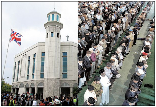 The Ahmadiyya Muslim community during Friday prayers at Baitul Futuh Mosque in Morden, London.